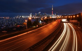 Обои ночь, огни, яхты, шоссе, мегаполис
