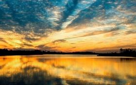 Обои небо, гладь, река, Закат, красота, вечер