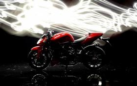 Картинка фон, темный, свечение, мотоцикл, ducati, Streetfighter