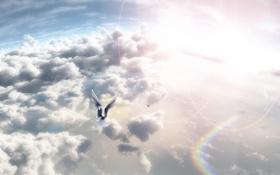 Картинка небо, солнце, облака, птицы, арт, nyarko