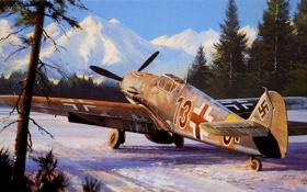 Обои зима, рисунок, истребитель, Nicholas Trudgian, Bf109F