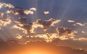 Обои пейзаж, небо, солнце, природа, облака, лучи