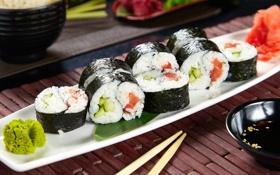 Обои суши, роллы, васаби, начинка, нори