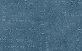 Обои ткань, капля, синий фон, цветок, дождь, стежки, надписи