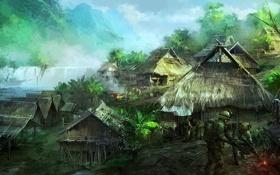 Обои река, оружие, водопад, деревня, джунгли, арт, солдаты