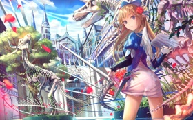 Обои девушка, аниме, музей, Fuji Choko, скелеты динозавров