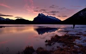 Обои зима, закат, озеро, гора, Banff National Park, Alberta, Canada