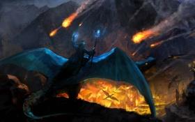 Обои пожар, скалы, огонь, драконы, армия, арт, нападение