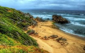 Обои облака, природы, трава, небо, океан, море, пляж