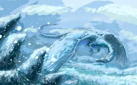 Обои фантастика, дракон, ледяной дракон, зима, арт, холод, снег