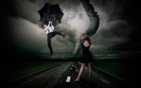 Обои девушка, зонт, смерч, торнадо, полёт, парень