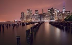 Обои город, река, сваи, ночь, New York, огни