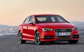 Картинка Audi, Красный, Вечер, Авто, решетка, Капот, Седан