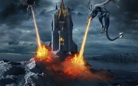 Обои небо, замок, фантастика, огонь, крылья, драконы