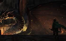 Обои оружие, огонь, магия, дракон, меч, арт, парень