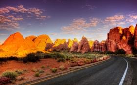 Обои дорога, лето, скалы, пустыня, USA, США, национальный парк
