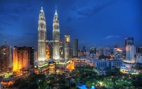 Обои ночь, огни, Malaysia, Flying Through the Night Skies of Kuala Lumpur