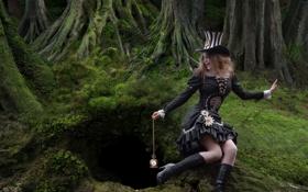Картинка девушка, часы, нора, по мотивам сказки, Rabbit hole