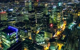 Обои ночь, город, огни, панорама, Canada, небоскрёбы, Toronto