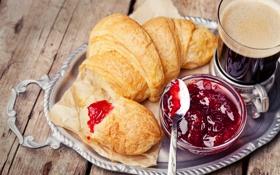 Обои jam, джем, croissant, завтрак, coffee, breakfast, кофе