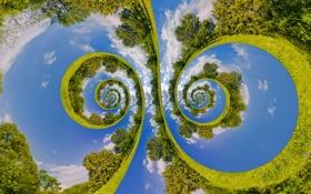 Картинка зелень, облака, деревья, спирали, креатив