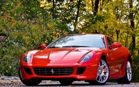 Обои 599, gtb, tree, Ferrari, деревья, red, феррари