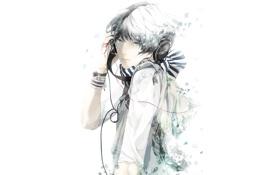 Картинка наушники, шарф, слезы, Парень, браслеты