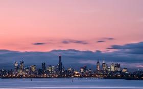 Картинка город, огни, вечер, Австралия, залив, Мельбурн