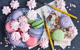 Обои печенье, ручки, разноцветное, десерт, открытки, меренги, безе