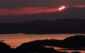 Картинка солнце, рассвет, гора, Япония, силуэт, landscape, japan