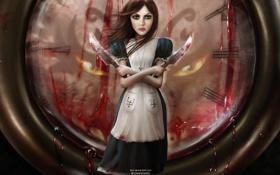 Обои Часы, Кровь, Алиса, Ножи, Alice, Alice Madness Returns