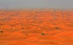 Картинка песок, небо, пустыня, башня, опора, дымка