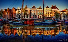 Обои река, HDR, парусник, Нидерланды, набережная, Netherlands, Groningen