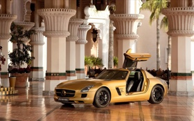 Обои sls amg, Мерседес, gold, дубай, дворец, dubai, Mercedes-Benz