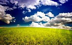 Обои природа, облака, горизонт, небо, трава
