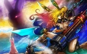 Обои кролики, morechand, арт, уши, девушка, оружие