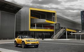 Обои желтый, здание, джип, внедорожник, Land Rover, ленд ровер, DC100 Sport
