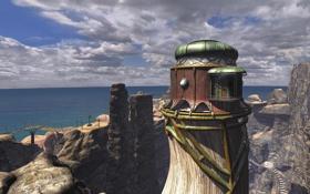 Обои море, пейзаж, мост, скалы, здание, лестница, myst 3