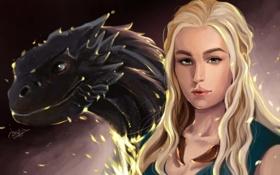 Картинка взгляд, лицо, волосы, дракон, арт, зеленые глаза, Игра престолов