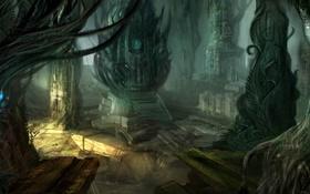 Обои город, колонны, пещера, руины, пришельцы
