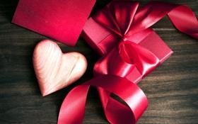 Картинка фон, дерево, праздник, коробка, подарок, сердце, лента
