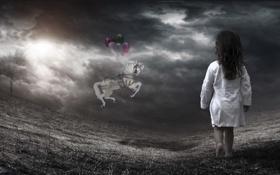 Обои dark, photomanipulation, child, Horse, Balloons