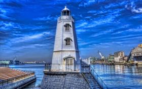 Обои Япония, залив, небо, дома, маяк, hdr