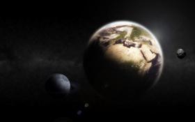 Обои пространство, Луна, Земля
