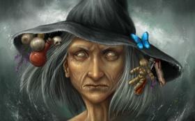 Обои лицо, бабочка, череп, шляпа, кукла, арт, палец