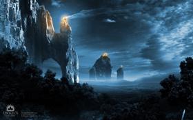 Обои лес, Lights of Empire, ночь, скалы, огни