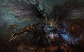 Картинка девушка, крылья, меч, монстры, цепи