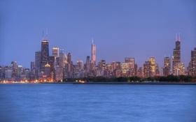 Обои город, здания, вечер, Chicago, панорамма