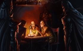 Обои стол, люди, комната, эльф, темно, свечи, войны
