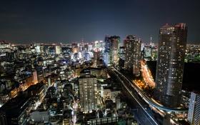Обои ночь, город, огни, небоскребы, Япония, Токио, Ben Torode